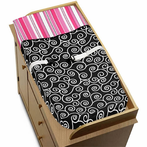Pink and Black Madison Girls Baby Changing Pad Cover - Click to enlarge