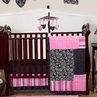 Pink and Black Madison Girls Boutique Baby Bedding - 11pc Crib Set