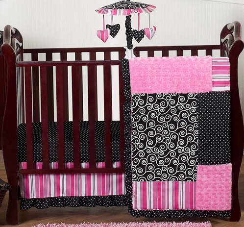 Pink and Black Madison Girls Boutique Baby Bedding - 11pc Crib Set - Click to enlarge