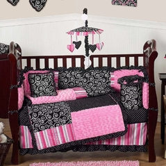 Pink and Black Madison Girls Boutique Baby Bedding - 9 pc Crib Set