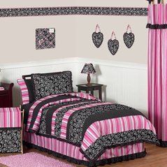 Pink and Black Madison Girls Kids & Teen Bedding - 4pc Twin Set