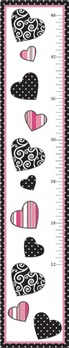 Pink and Black Madison Kids, Childrens Wall Growth Chart by Sweet Jojo Designs - Click to enlarge