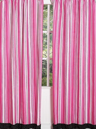 Pink and Black Madison Stripe Window Treatment Panels - Set of 2 - Click to enlarge