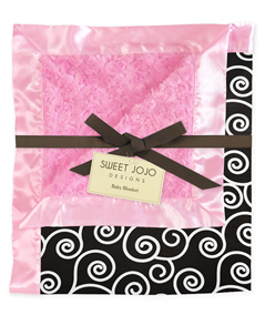 Pink and Black Minky and Satin Baby Blanket by Sweet Jojo Designs