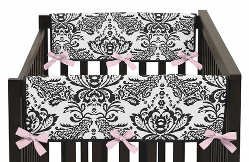 Pink and Black Sophia Baby Crib Side Rail Guard Covers by Sweet Jojo Designs - Set of 2 - Click to enlarge