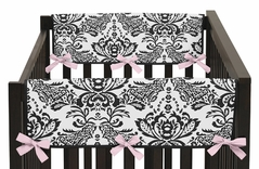 Pink and Black Sophia Baby Crib Side Rail Guard Covers by Sweet Jojo Designs - Set of 2