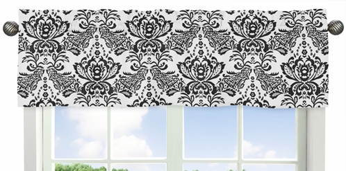 Black Damask Window Valance for Pink and Black Sophia Collection by Sweet Jojo Designs - Click to enlarge