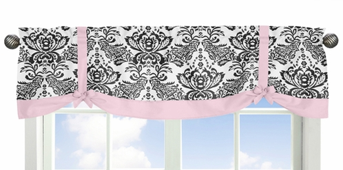 Pink and Black Sophia Window Valance by Sweet Jojo Designs - Click to enlarge