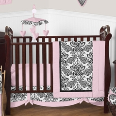 Pink and Black Sophia Crib Bedding - 11pc crib set