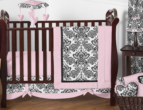 Pink And Black Sophia Crib Bedding 11pc Set Click To Enlarge
