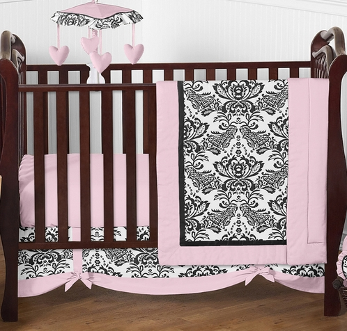 Pink and Black Sophia Crib Bedding - 4pc Crib Set - Click to enlarge