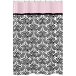 Pink and Black Sophia Kids Bathroom Fabric Bath Shower Curtain