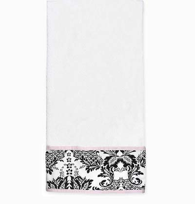 Pink and Black Sophia Large Cotton Bath Towel - Click to enlarge