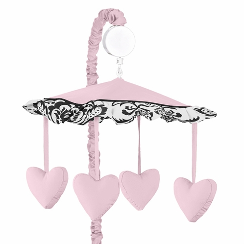 Pink and Black Sophia Musical Baby Girl Crib Mobile by Sweet Jojo Designs - Click to enlarge