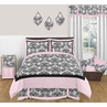 Pink and Black Sophia Teen Bedding - 3 pc Full / Queen Set