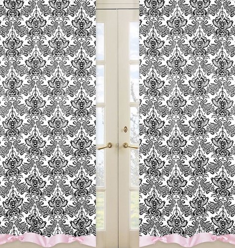 Pink and Black Sophia Window Treatment Panels - Set of 2 - Click to enlarge