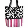 Pink and Black, Stripes and Scroll Print Tote Handbag (Great for Diaper Bag, Tote Bag, Purse or Beach Bag)