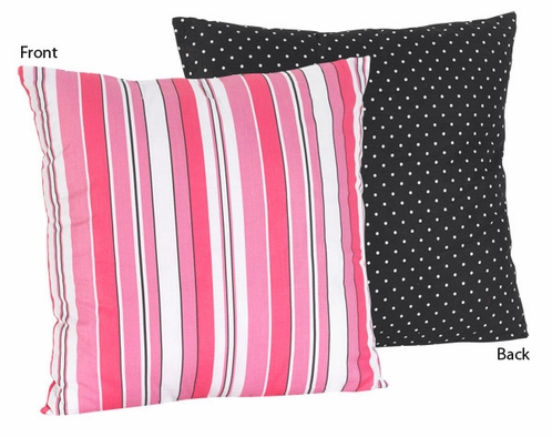 Pink and Black Stripes/Dots Madison Decorative Accent Throw Pillow - Click to enlarge