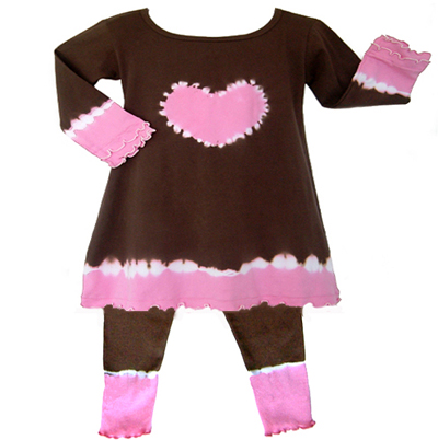 Pink and Brown 2pc Tie Dye Heart Tunic Outfit - Click to enlarge
