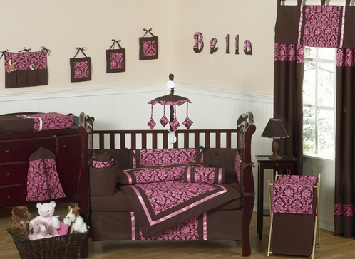 Bella Brown and Pink Baby Bedding - 9 pc Crib Set - Click to enlarge