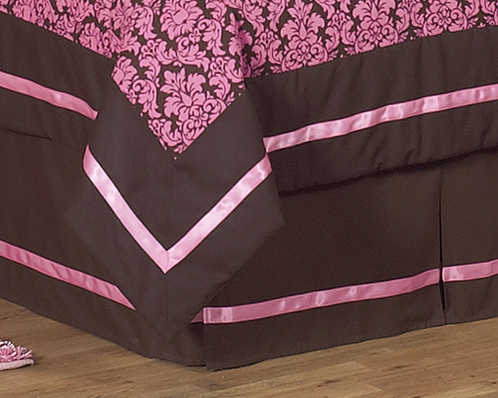 Pink and Brown Bella Queen Kids Children's Bed Skirt by Sweet Jojo Designs - Click to enlarge