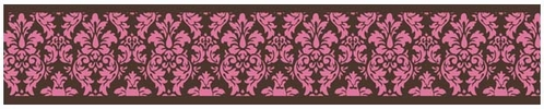 Pink and Brown Bella Damask Baby and Kids Wall Border by Sweet Jojo Designs - Click to enlarge