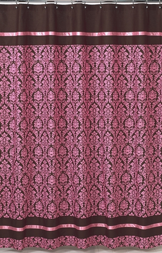 Pink and Brown Bella Kids Bathroom Fabric Bath Shower Curtain - Click to enlarge