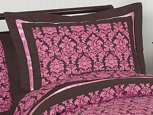 Pink and Brown Bella Pillow Sham - Click to enlarge