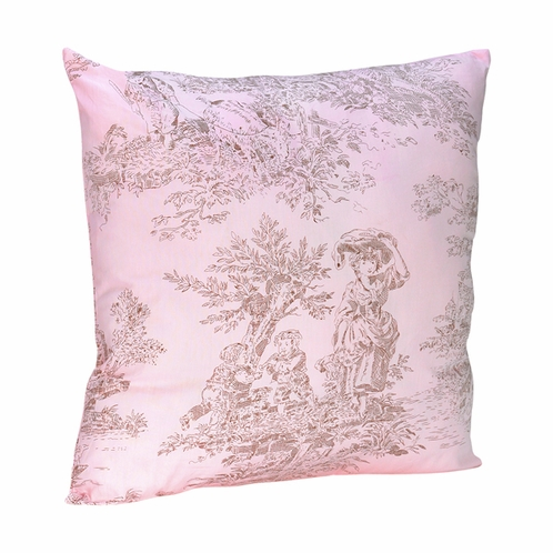 Pink and Brown French Toile Accent  Decorative Throw Pillow - Click to enlarge