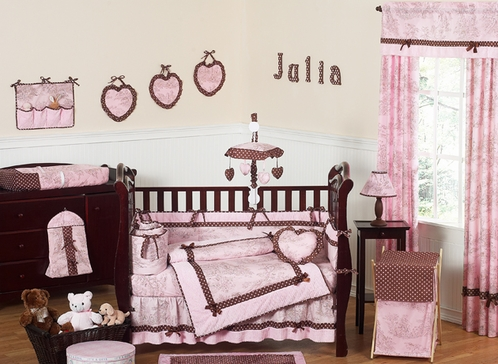 Pink and Brown French Toile and Polka Dot Baby Bedding - 9 pc Crib Set - Click to enlarge
