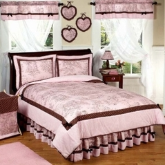 Pink and Brown French Toile and Polka Dot Childrens Bedding - 4 pc Twin Set