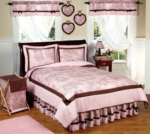 Pink and Brown French Toile and Polka Dot Girls Bedding -  3 pc Full / Queen Set - Click to enlarge