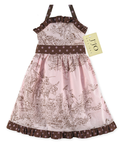 Pink and Brown French Toile Baby Dress by Sweet Jojo Designs - Click to enlarge