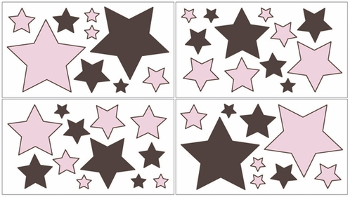 Pink and Brown Hotel Baby and Childrens Modern Wall Decal Stickers - Set of 4 Sheets - Click to enlarge