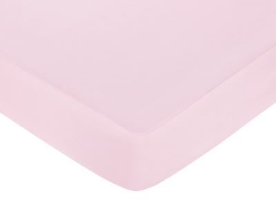 Pink and Brown Hotel Fitted Crib Sheet for Baby and Toddler Bedding Sets by Sweet Jojo Designs - Solid Pink - Click to enlarge