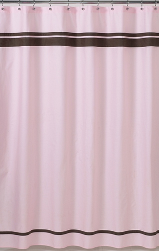 Pink And Brown Hotel Kids Bathroom Fabric Bath Shower Curtain Click To Enlarge