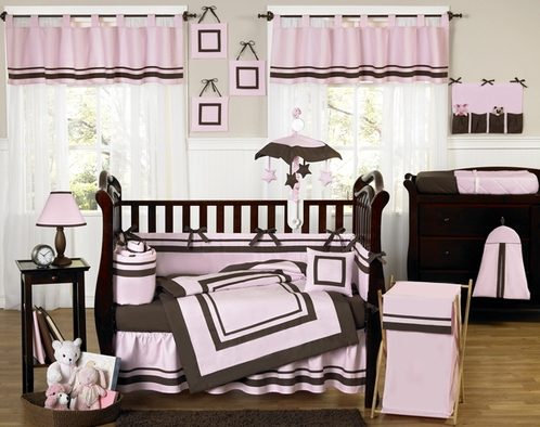 Pink and Brown Hotel Modern Baby Bedding - 9 pc Crib Set - Click to enlarge
