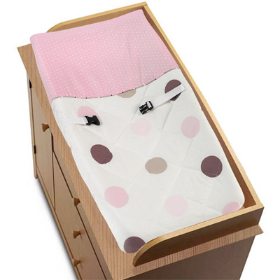 Pink and Brown Mod Dots Changing Pad Cover by Sweet Jojo Designs - Click to enlarge
