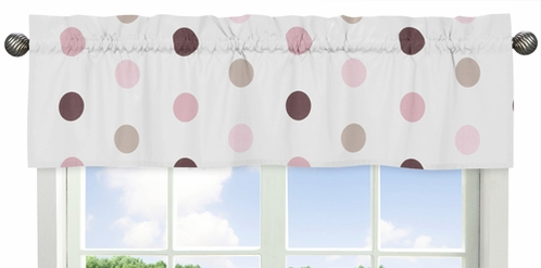 Pink and Brown Mod Dots Collection Window Valance by Sweet Jojo Designs - Click to enlarge