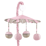 Pink and Brown Mod Dots Musical Crib Mobile by Sweet Jojo Designs