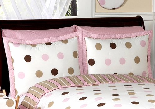 Pink and Brown Mod Dots Pillow Sham - Click to enlarge