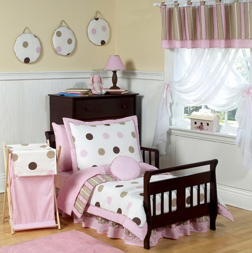 Pink and Brown Modern Polka Dots Toddler Bedding - 5pc set - Click to enlarge