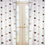 Pink and Brown Mod Dots Window Treatment Panels - Set of 2