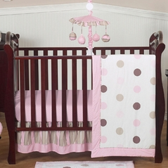 Pink and Brown Modern Polka Dot Baby Bedding - 4pc Crib Set