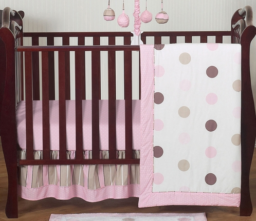 Pink and Brown Modern Polka Dot Baby Bedding - 4pc Crib Set - Click to enlarge