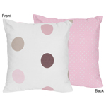 Pink and Brown Modern Polka Dots Decorative Accent Throw Pillow