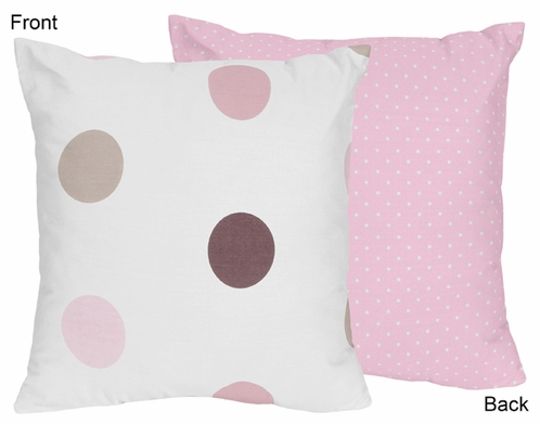Pink and Brown Modern Polka Dots Decorative Accent Throw Pillow - Click to enlarge