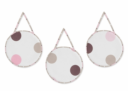 Pink and Brown Modern Polka Dots Wall Hanging Accessories by Sweet Jojo Designs - Click to enlarge