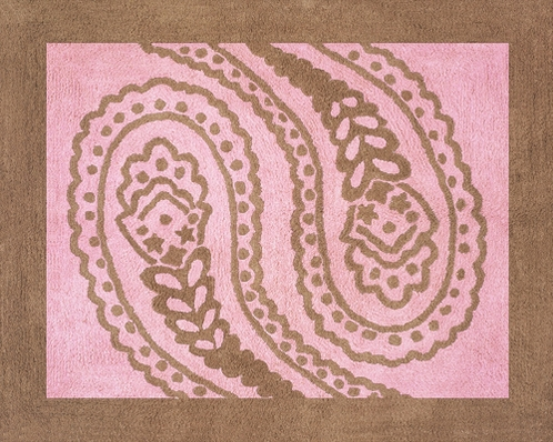 Pink and Brown Paisley Accent Floor Rug - Click to enlarge