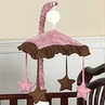 Pink and Brown Paisley Girls Musical Crib Mobile